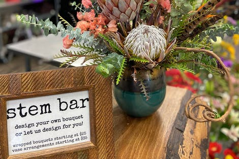 "A fresh bouquet awaits its new home at our DIY ""Stem Bar"""